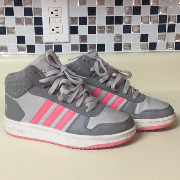 Adidas high top girls size 4.5 Gray pink